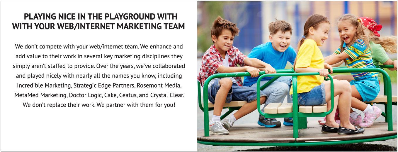 Internet Partners: Incredible Marketing, Strategic Edge, Rosemont Media, MetaMed Marketing, Doctor Logic, Cake, Ceatus, Crystal Clear